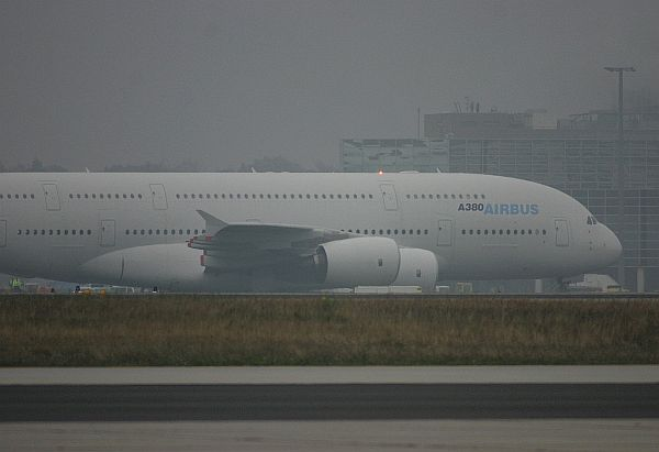 Airbus A380 in Frankfurt / Main.