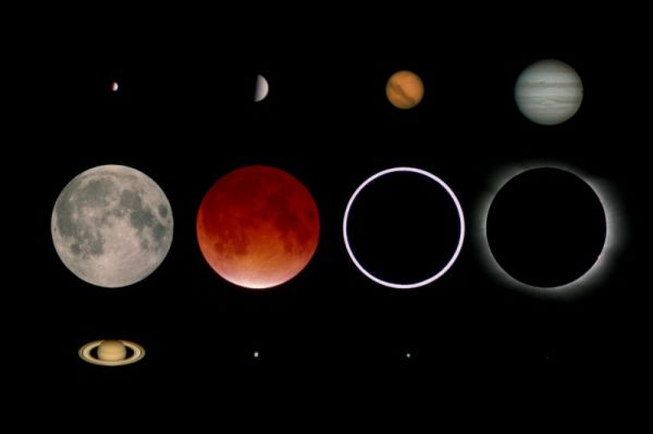 Here you see the planets Mercury, Venus, Mars, Jupiter, Saturn, Uranus, Neptune and Pluto. Additionally there is the moon and a lunar eclipse, the sun and a solar eclipse.
